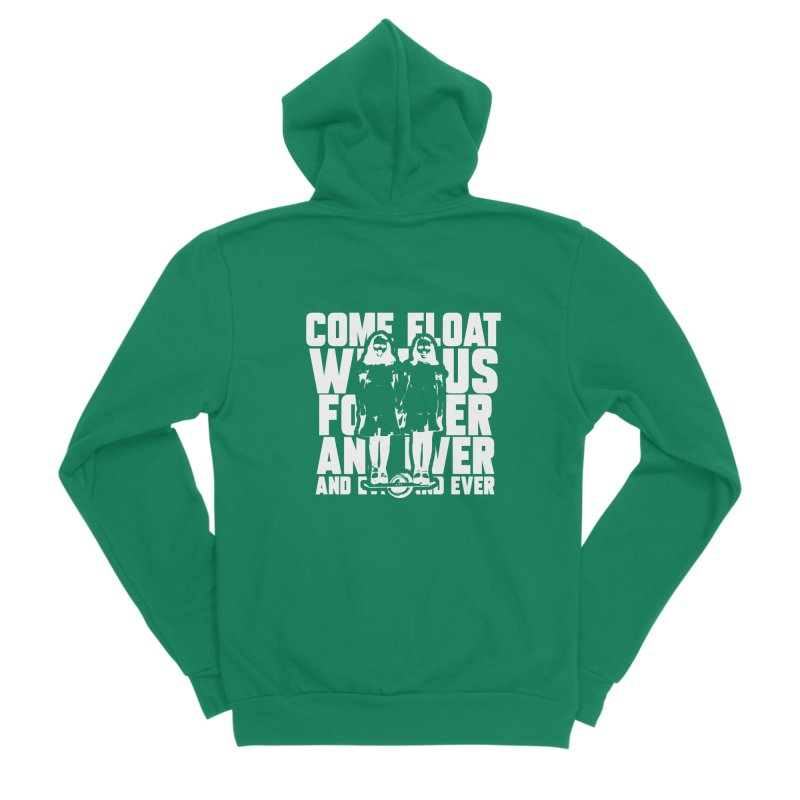 Come Float With Us - White Men's Sponge Fleece Zip-Up Hoody by Stoke Butter - Spread the Stoke