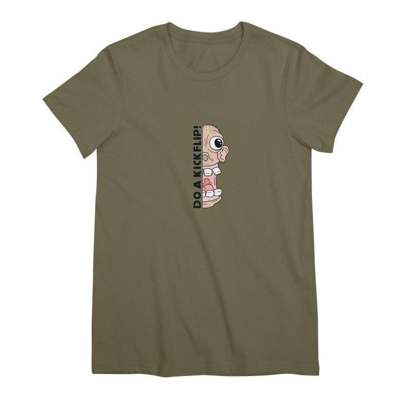 DO A KICKFLIP! - Black Text Women's T-Shirt by Stoke Butter - Spread the Stoke
