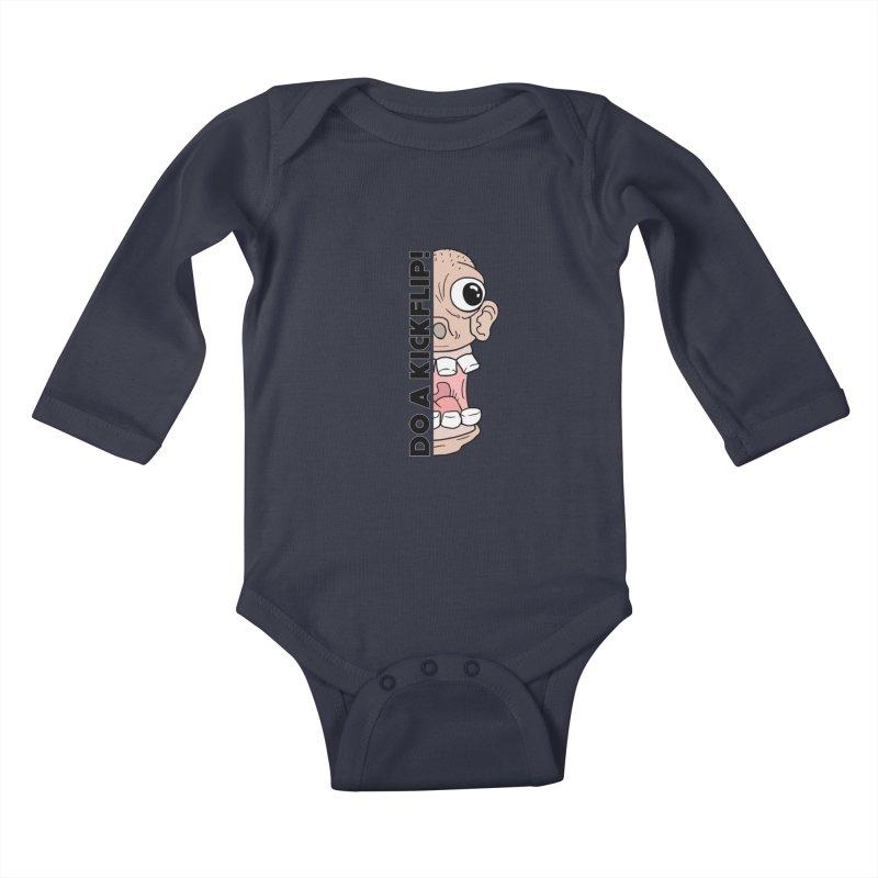 DO A KICKFLIP! - Black Text Kids Baby Longsleeve Bodysuit by Stoke Butter - Spread the Stoke