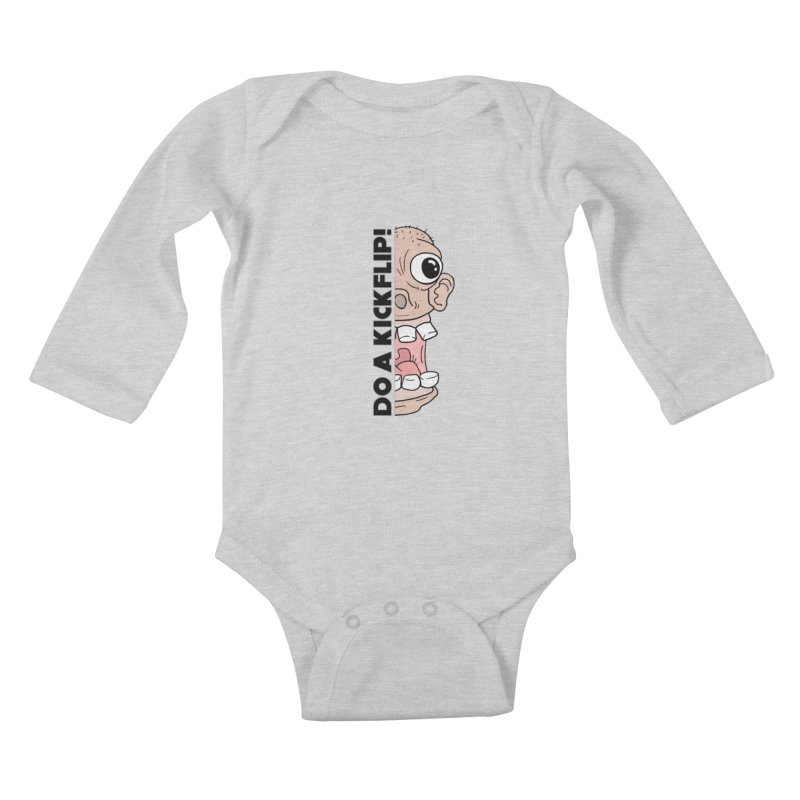 DO A KICKFLIP! - Black Text Kids Baby Longsleeve Bodysuit by Stoke Butter - Spread the Stoke