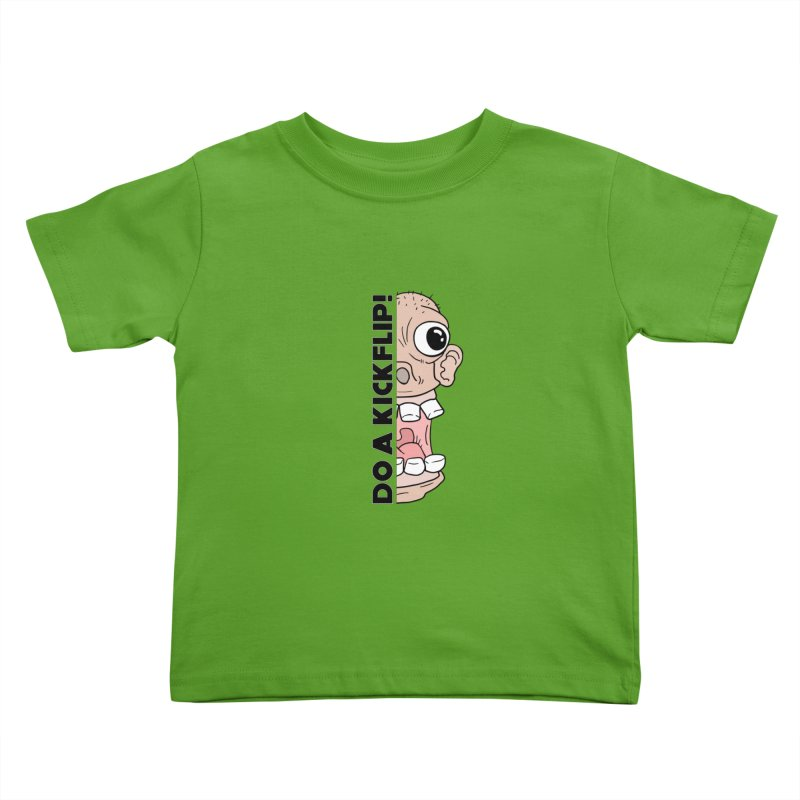 DO A KICKFLIP! - Black Text Kids Toddler T-Shirt by Stoke Butter - Spread the Stoke