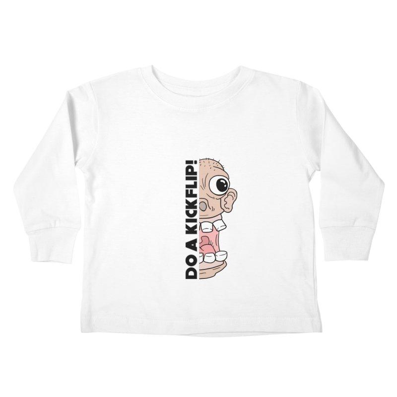 DO A KICKFLIP! - Black Text Kids Toddler Longsleeve T-Shirt by Stoke Butter - Spread the Stoke