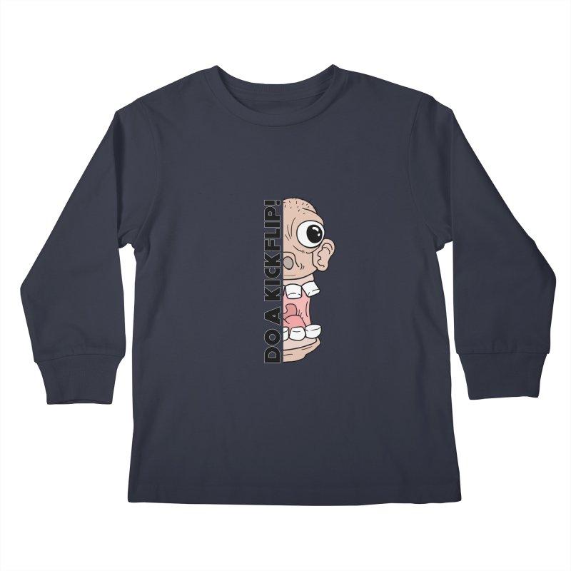 DO A KICKFLIP! - Black Text Kids Longsleeve T-Shirt by Stoke Butter - Spread the Stoke