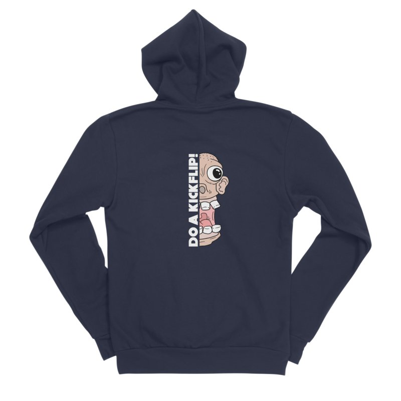 DO A KICKFLIP! - White Text Men's Sponge Fleece Zip-Up Hoody by Stoke Butter - Spread the Stoke