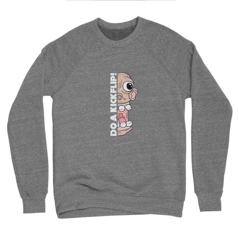 DO A KICKFLIP! - White Text Men's Sponge Fleece Sweatshirt by Stoke Butter - Spread the Stoke