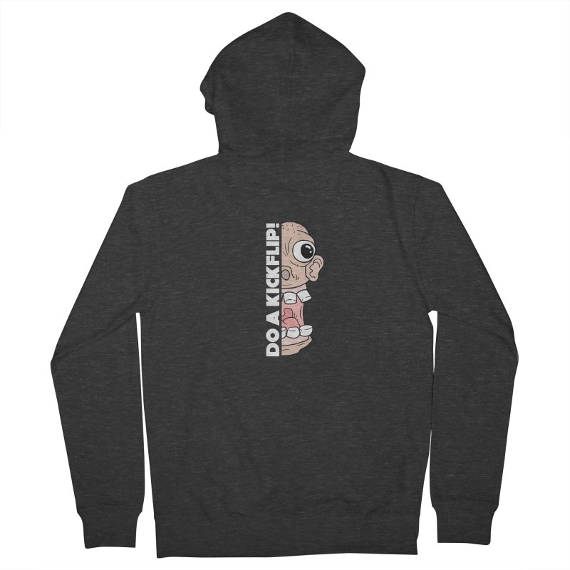 DO A KICKFLIP! - White Text Men's French Terry Zip-Up Hoody by Stoke Butter - Spread the Stoke
