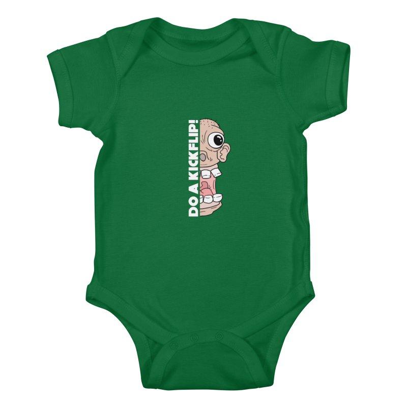 DO A KICKFLIP! - White Text Kids Baby Bodysuit by Stoke Butter - Spread the Stoke