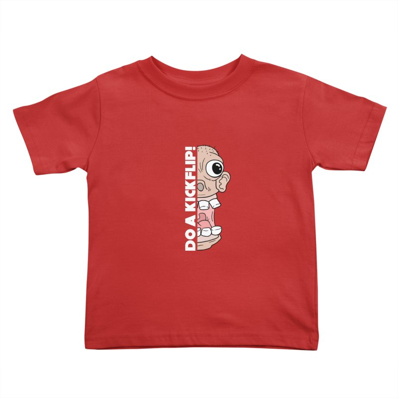 DO A KICKFLIP! - White Text Kids Toddler T-Shirt by Stoke Butter - Spread the Stoke