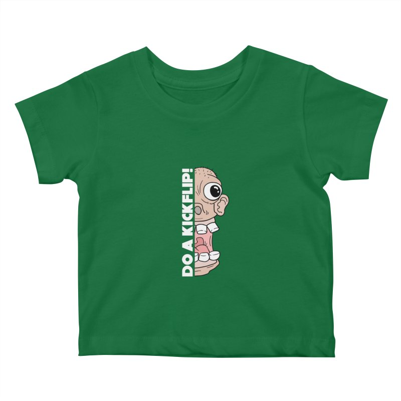 DO A KICKFLIP! - White Text Kids Baby T-Shirt by Stoke Butter - Spread the Stoke