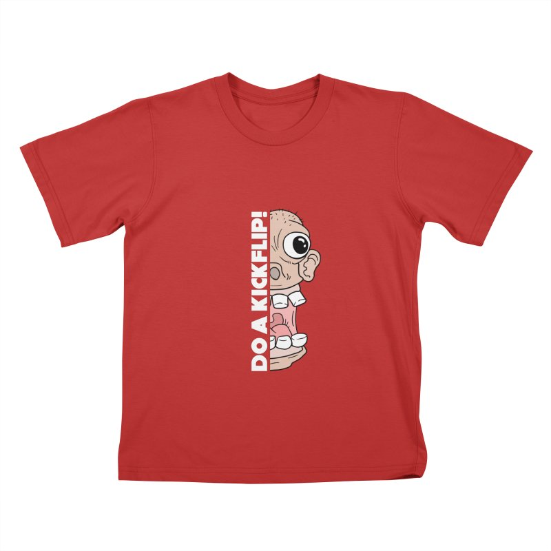 DO A KICKFLIP! - White Text Kids T-Shirt by Stoke Butter - Spread the Stoke