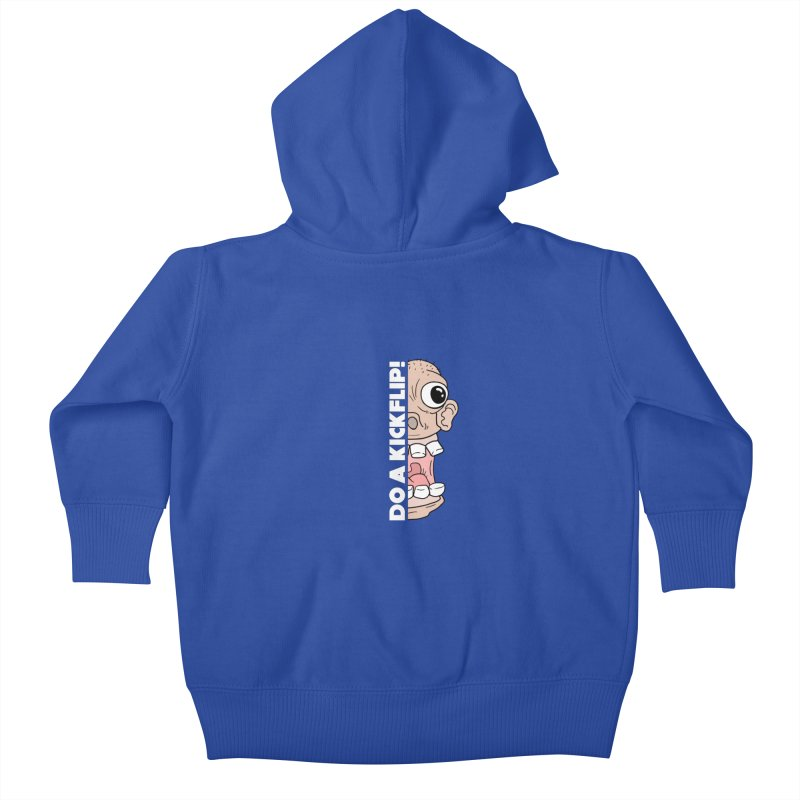 DO A KICKFLIP! - White Text Kids Baby Zip-Up Hoody by Stoke Butter - Spread the Stoke