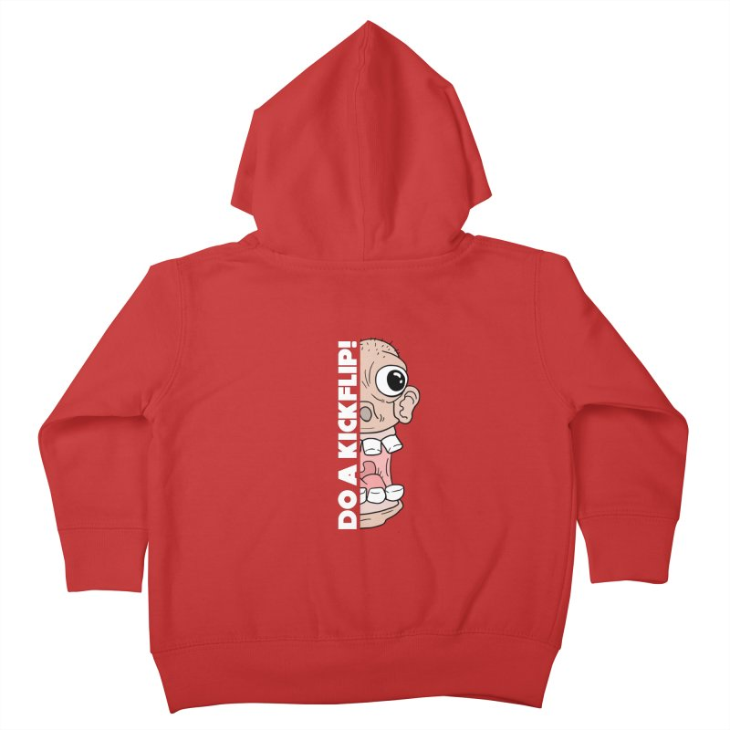 DO A KICKFLIP! - White Text Kids Toddler Zip-Up Hoody by Stoke Butter - Spread the Stoke