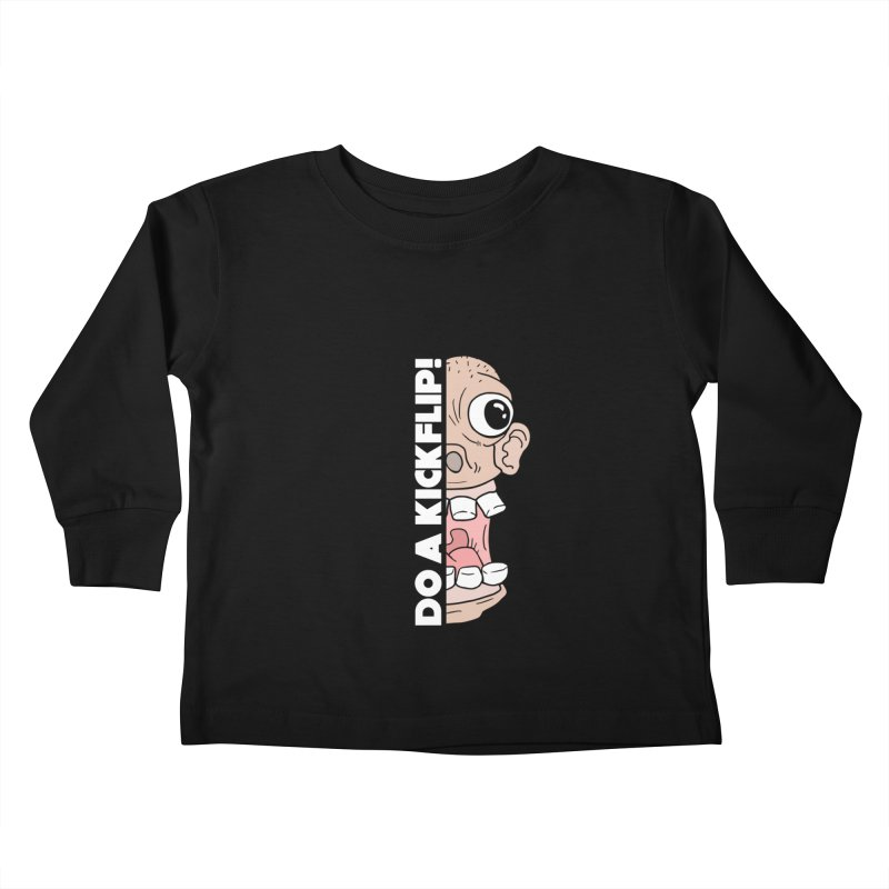 DO A KICKFLIP! - White Text Kids Toddler Longsleeve T-Shirt by Stoke Butter - Spread the Stoke