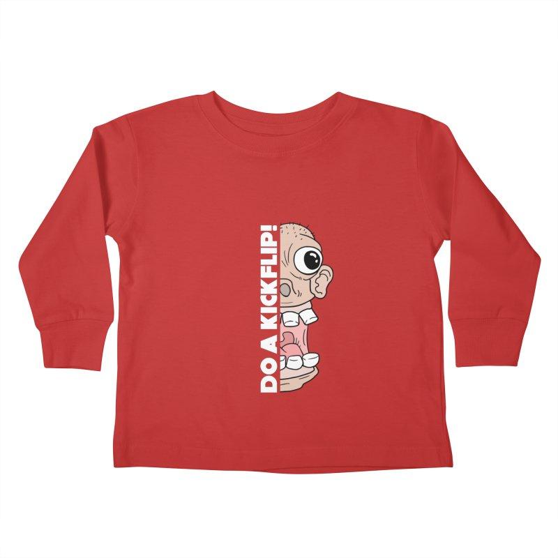DO A KICKFLIP! - White Text Kids Toddler Longsleeve T-Shirt by Stoke Butter - Spread the Stoke