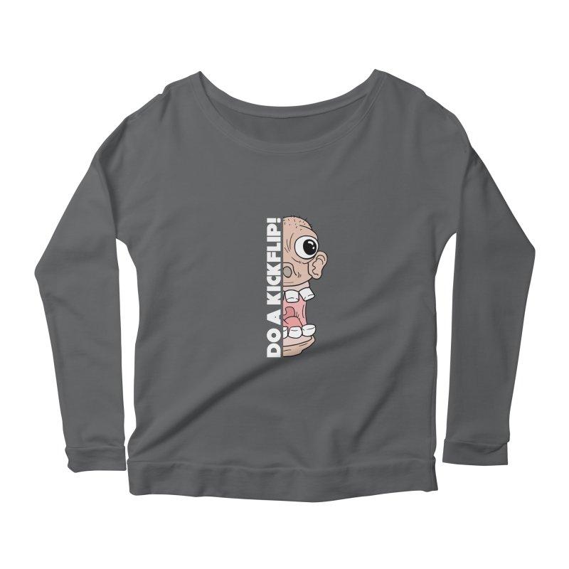 DO A KICKFLIP! - White Text Women's Longsleeve T-Shirt by Stoke Butter - Spread the Stoke