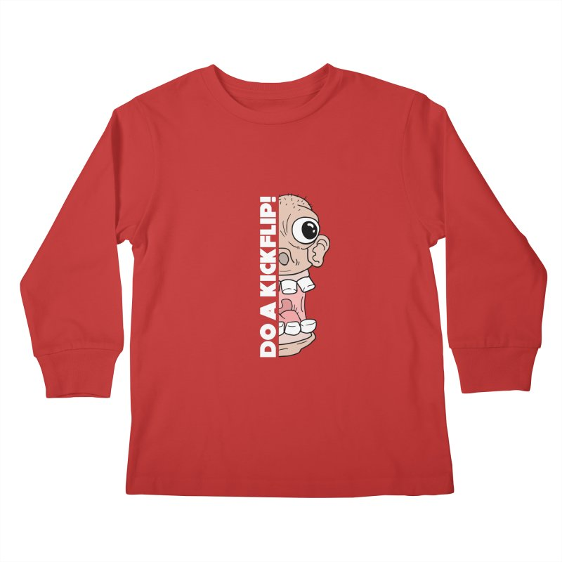 DO A KICKFLIP! - White Text Kids Longsleeve T-Shirt by Stoke Butter - Spread the Stoke