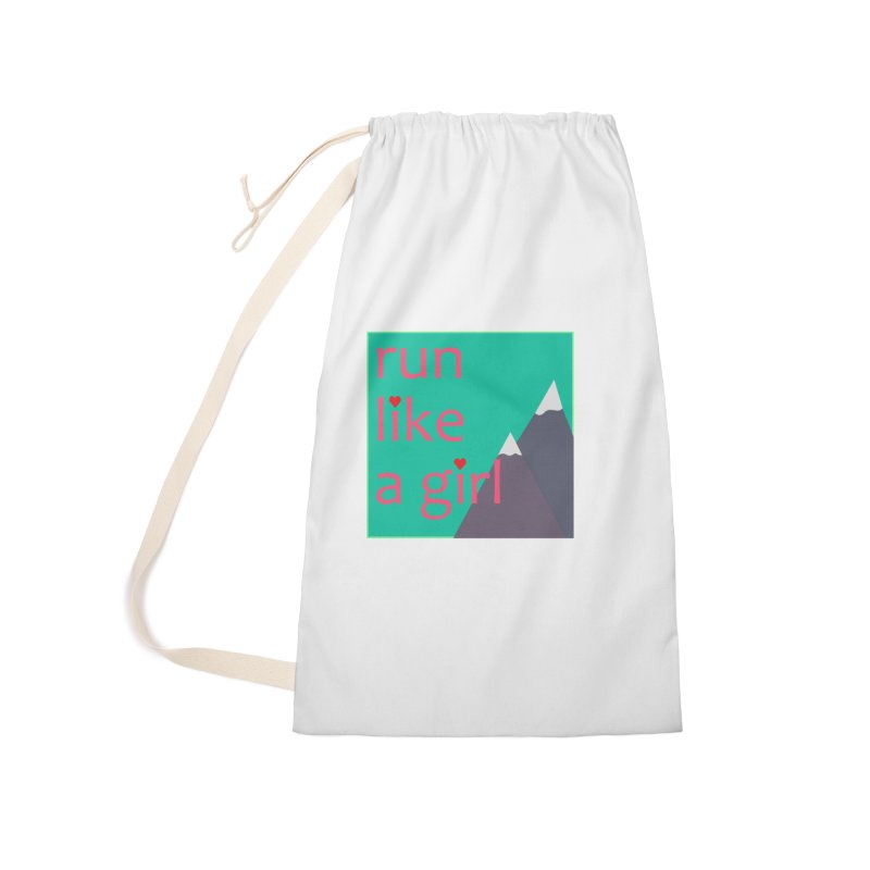 Run Like A Girl Accessories Laundry Bag Bag by stokedalpine's Artist Shop