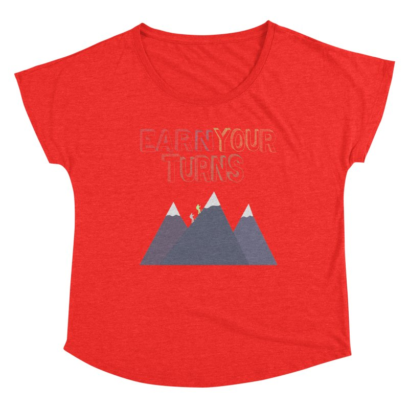Earn Your Turns- No Background Women's Scoop Neck by stokedalpine's Artist Shop