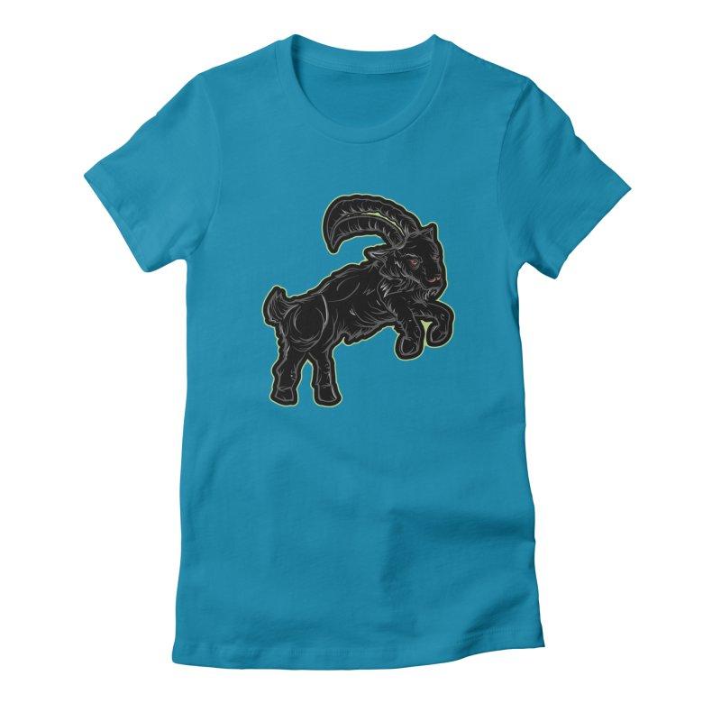 Scratchin' Black Goat Women's T-Shirt by Stolen Halo the art of Rudy Flores