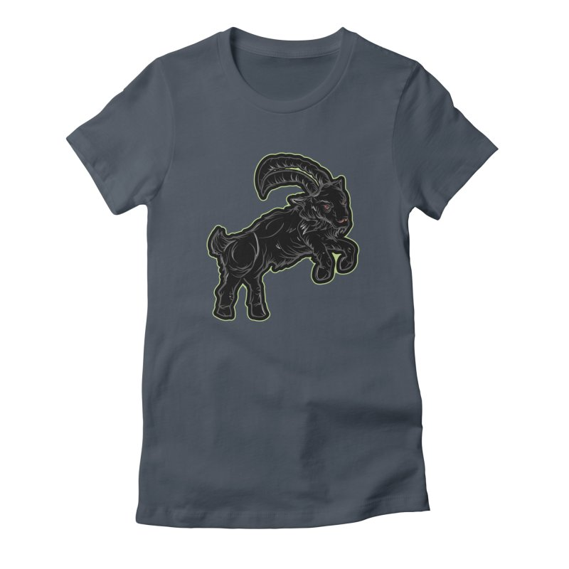 Scratchin' Black Goat Women's Fitted T-Shirt by Stolen Halo the art of Rudy Flores