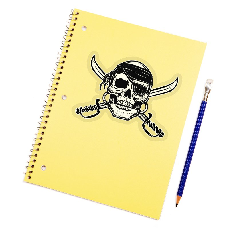 Pirate Skull Accessories Sticker by Stoner Graphics's Artist Shop