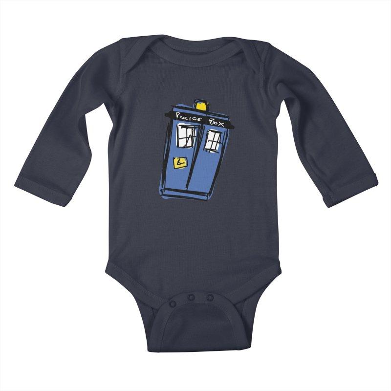 Police Box Kids Baby Longsleeve Bodysuit by Stonestreet Designs