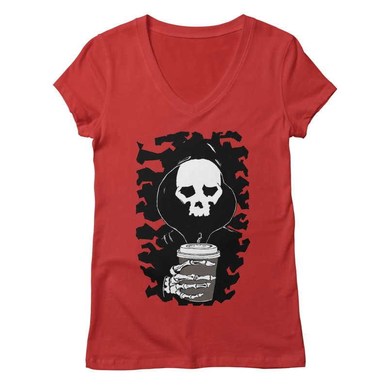 Coffee in the Mourning Women's Regular V-Neck by stonestreet's Artist Shop