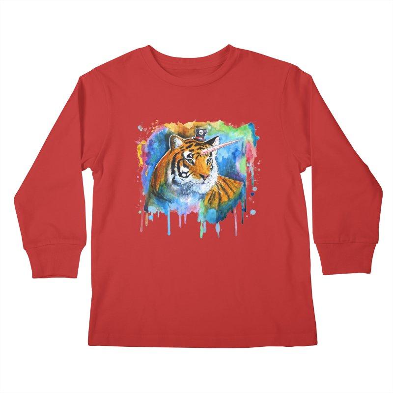 The Tigress With a Dream Kids Longsleeve T-Shirt by artofvelazuez