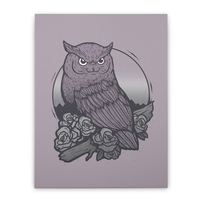 OWL CAT Home Stretched Canvas by strangefiction's Shop