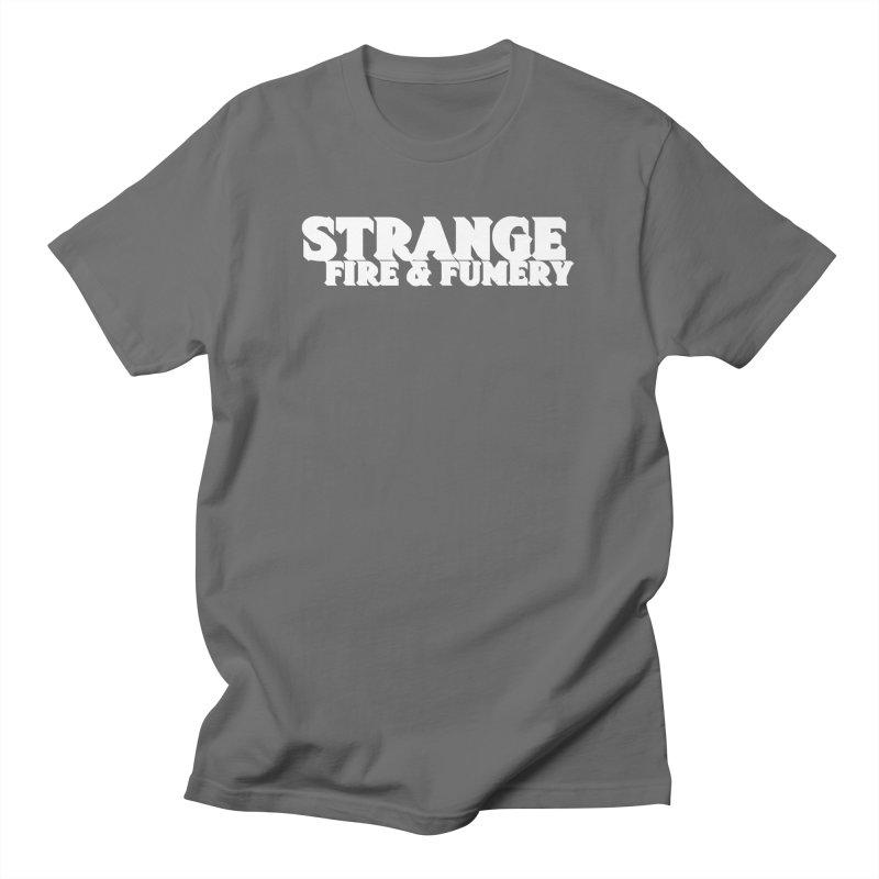 Strange Fire & Fumery Logo (white) Men's T-Shirt by The Fumery Clothing Depot