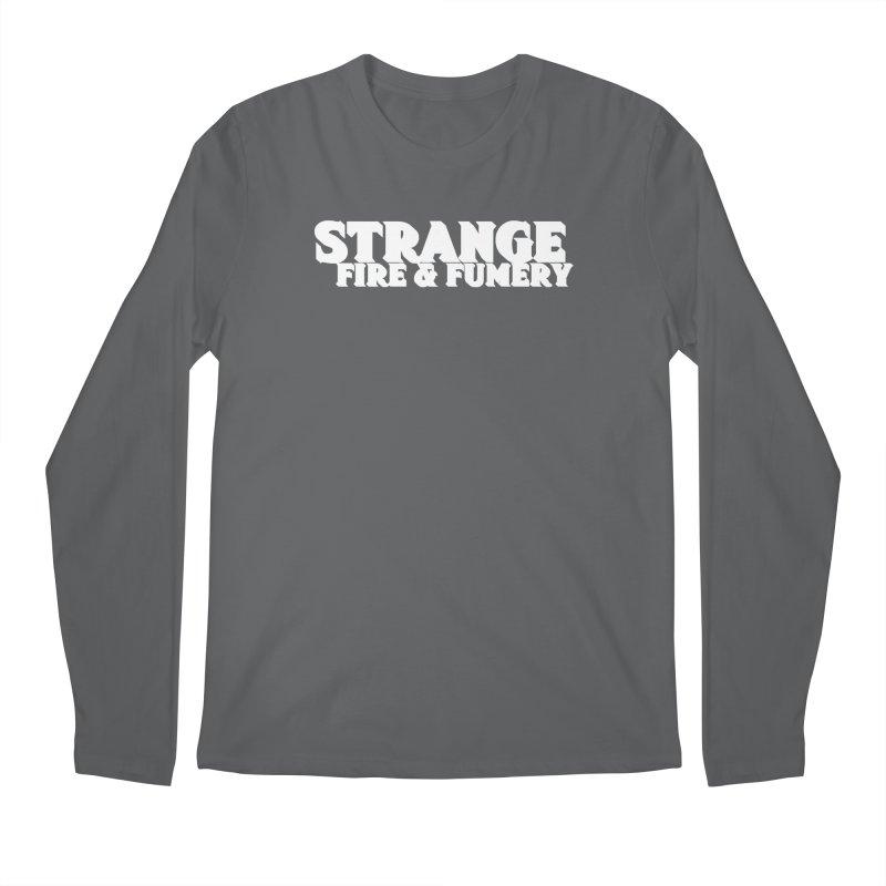Strange Fire & Fumery Logo (white) Men's Longsleeve T-Shirt by The Fumery Clothing Depot