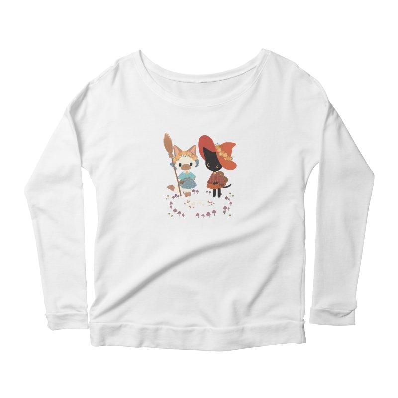 Witch Cats Women's Scoop Neck Longsleeve T-Shirt by StrangelyKatie's Store