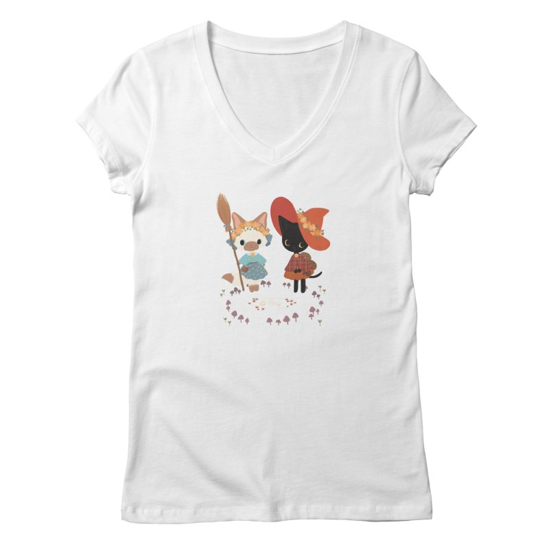 Witch Cats Women's V-Neck by StrangelyKatie's Store