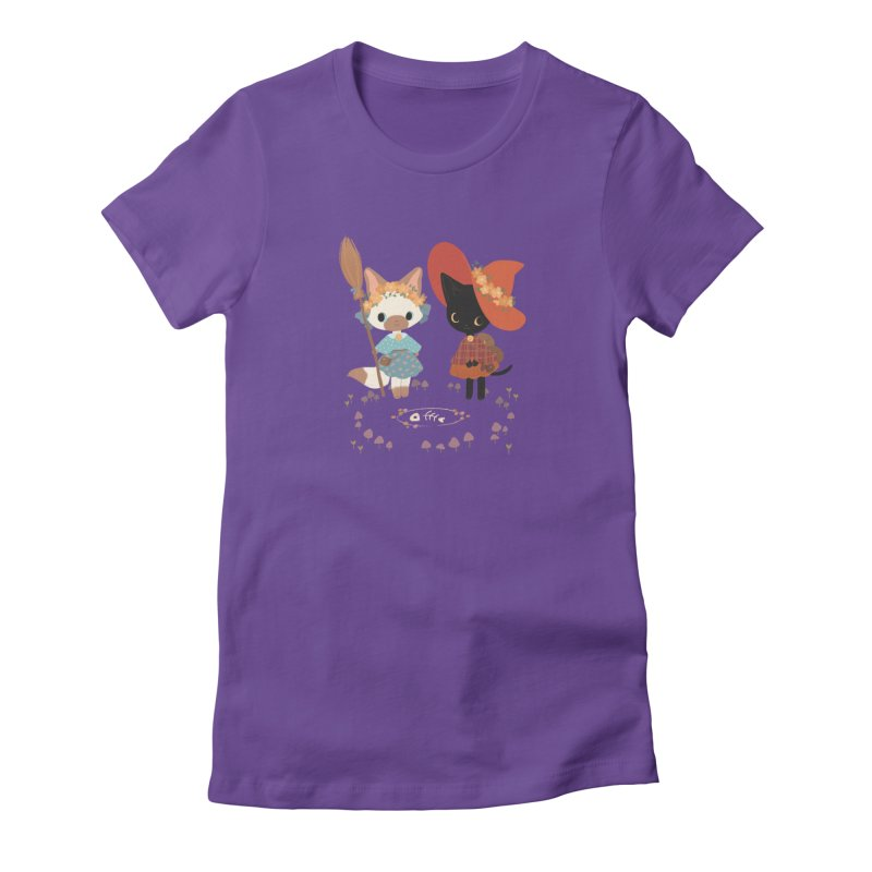 Witch Cats Women's Fitted T-Shirt by StrangelyKatie's Store