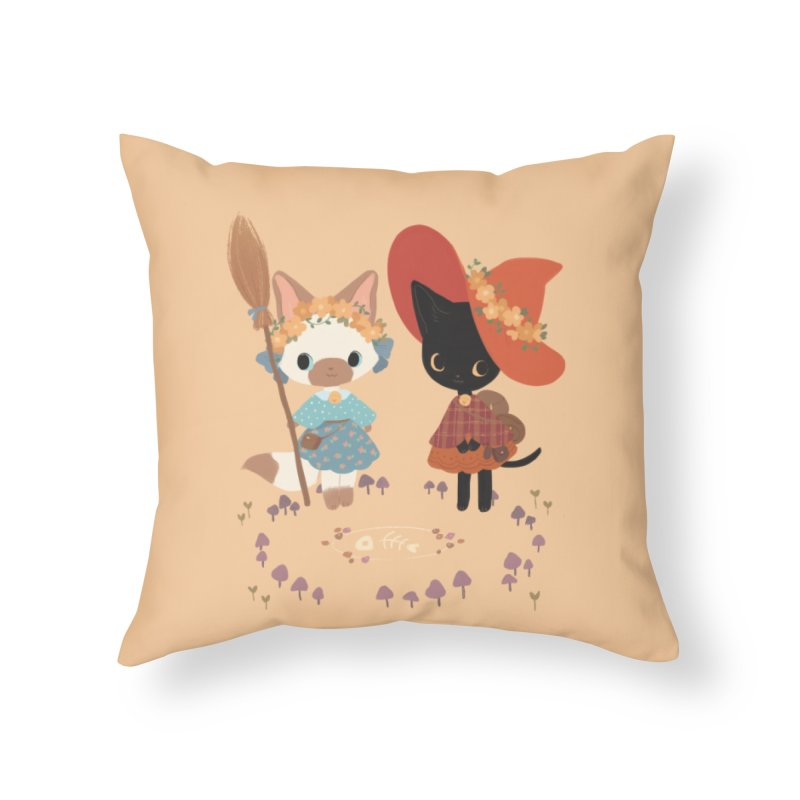 Witch Cats Home Throw Pillow by StrangelyKatie's Store
