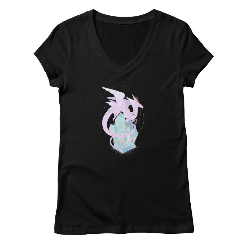 Crystal Dragon Women's V-Neck by StrangelyKatie's Store