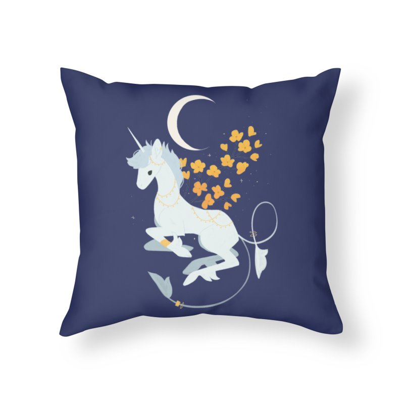 Unicorn Moon Home Throw Pillow by StrangelyKatie's Store