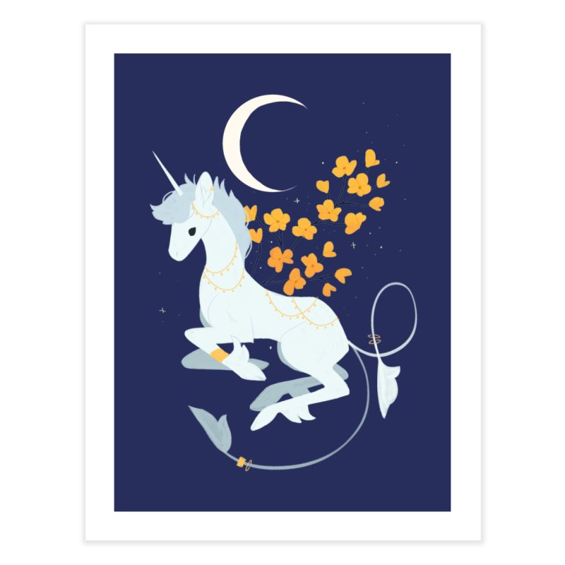 Unicorn Moon Home Fine Art Print by StrangelyKatie's Store