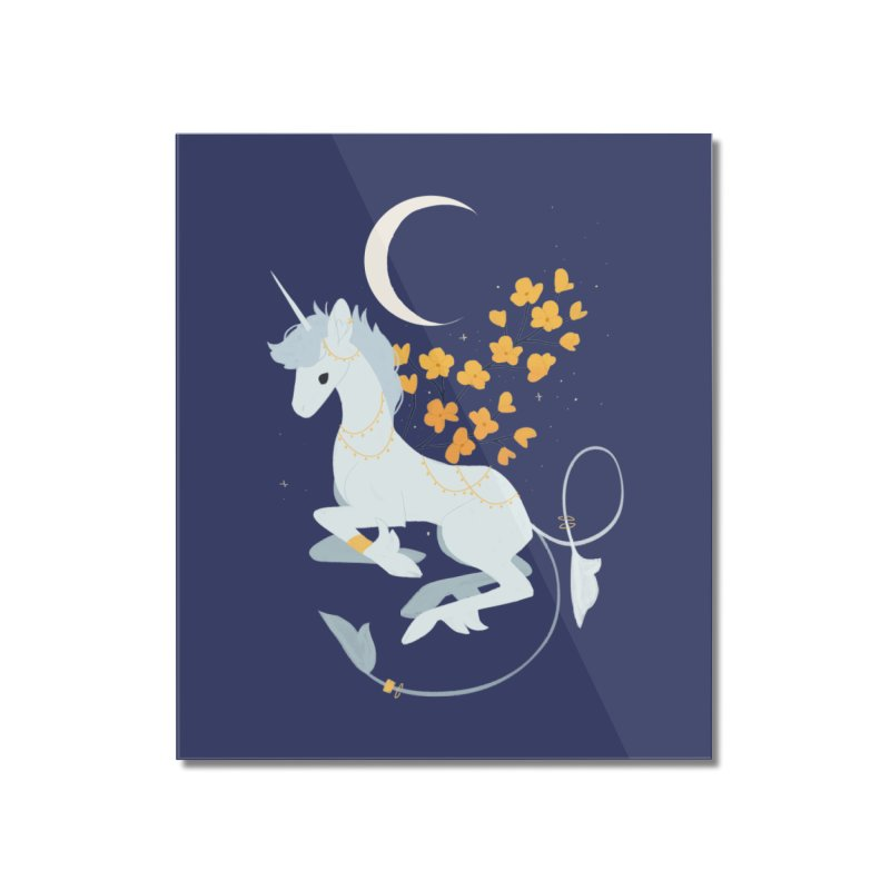 Unicorn Moon Home Mounted Acrylic Print by StrangelyKatie's Store
