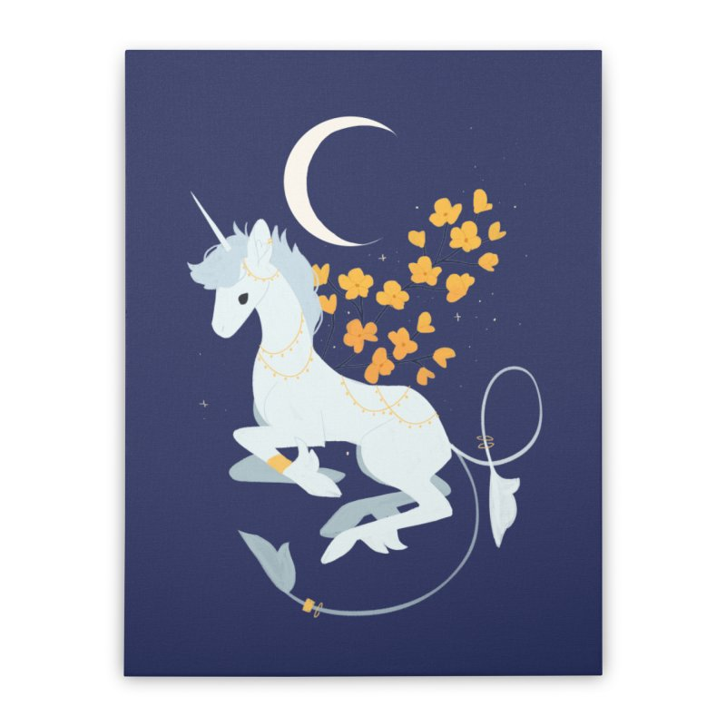 Unicorn Moon Home Stretched Canvas by StrangelyKatie's Store