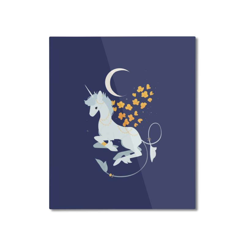 Unicorn Moon Home Mounted Aluminum Print by StrangelyKatie's Store