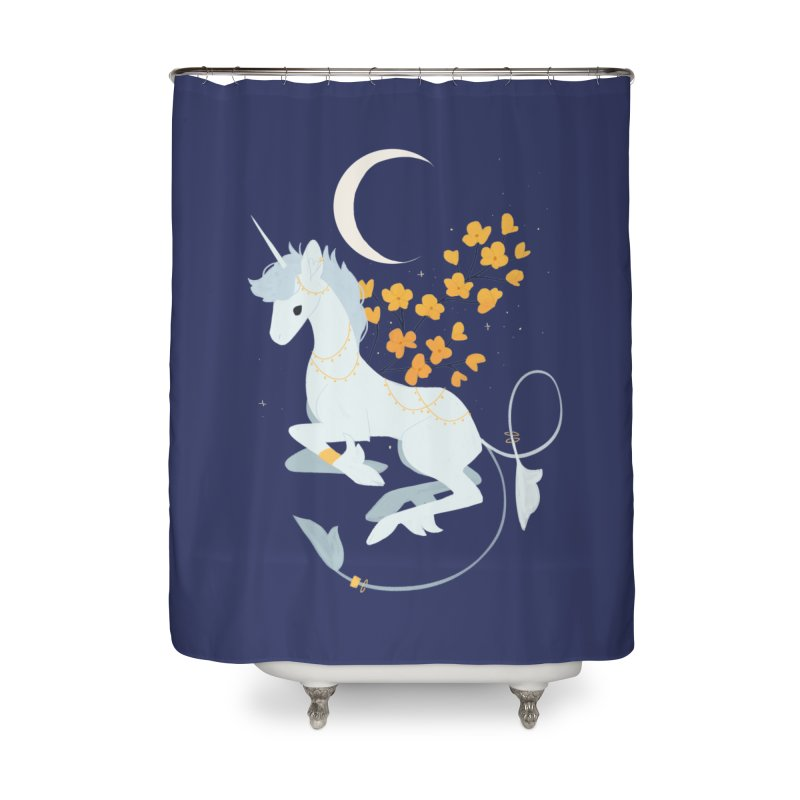 Unicorn Moon Home Shower Curtain by StrangelyKatie's Store