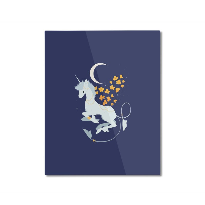 Unicorn Moon Home Mounted Aluminum Print by StrangelyKatie's Store