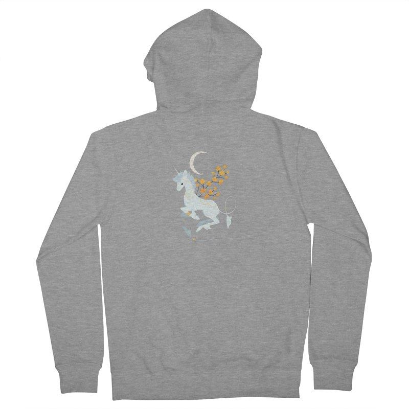 Unicorn Moon Men's French Terry Zip-Up Hoody by StrangelyKatie's Store