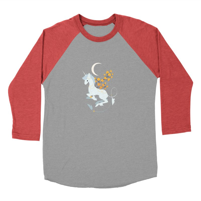 Unicorn Moon Women's Baseball Triblend Longsleeve T-Shirt by StrangelyKatie's Store