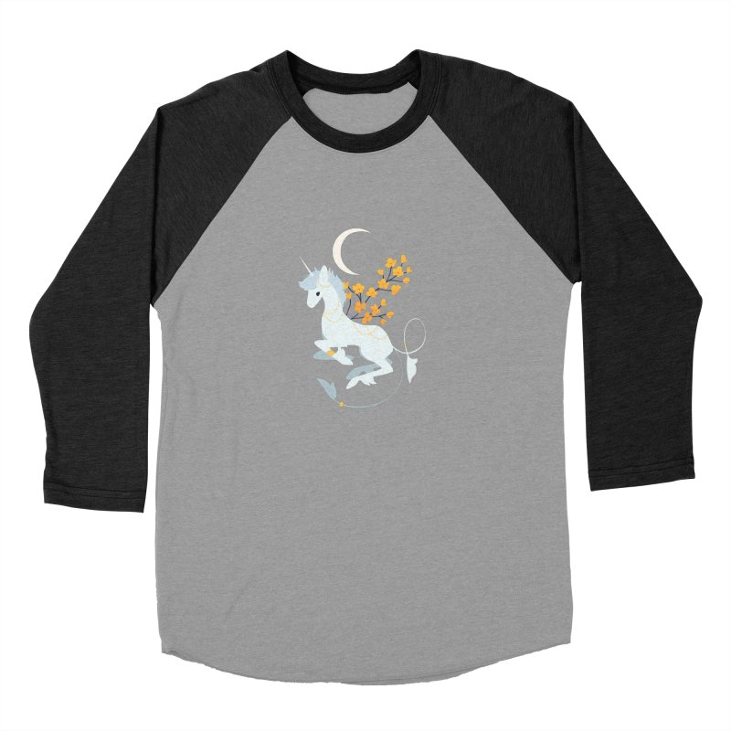 Unicorn Moon Women's Baseball Triblend T-Shirt by StrangelyKatie's Store