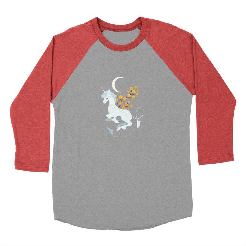 Unicorn Moon Men's Baseball Triblend Longsleeve T-Shirt by StrangelyKatie's Store