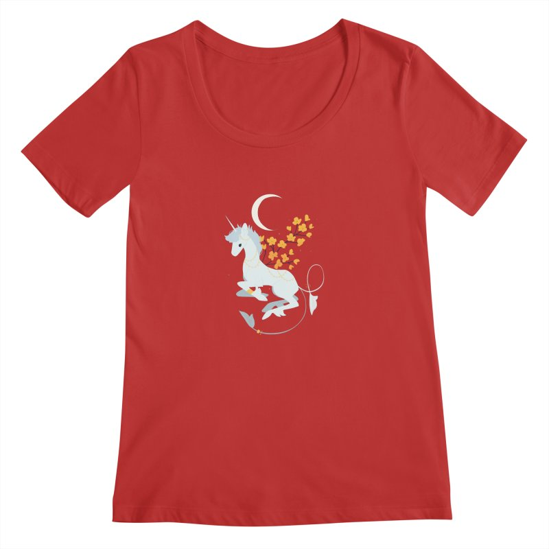 Unicorn Moon Women's Scoop Neck by StrangelyKatie's Store