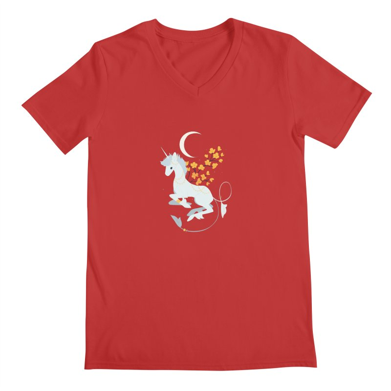 Unicorn Moon Men's V-Neck by StrangelyKatie's Store