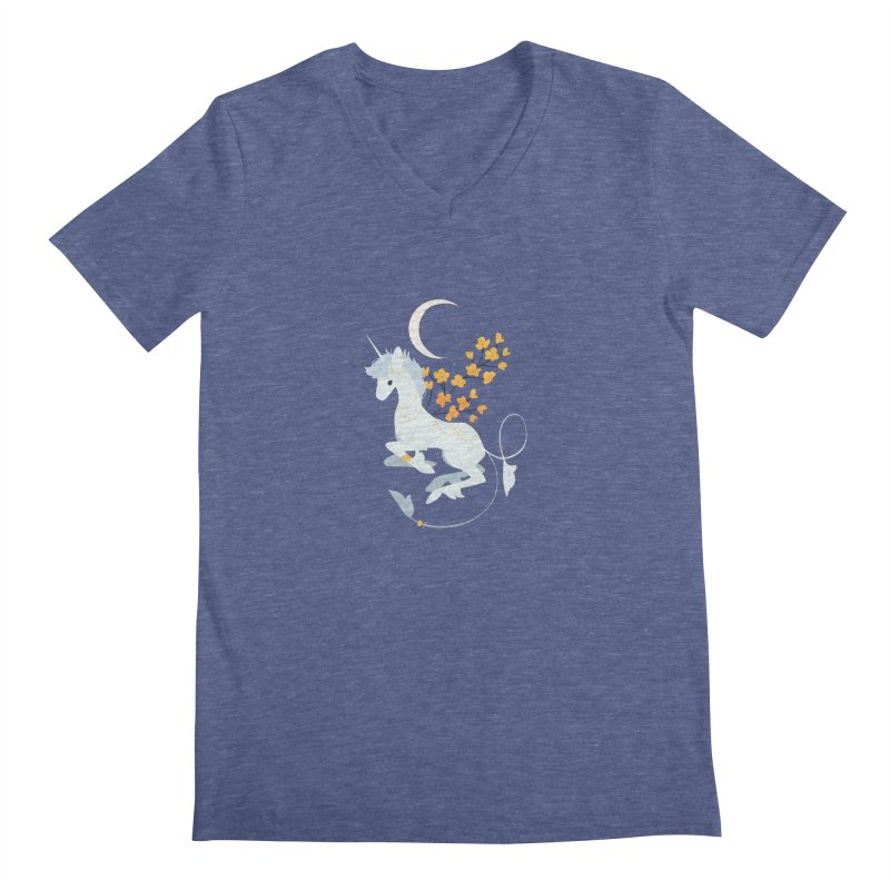 Unicorn Moon Men's Regular V-Neck by StrangelyKatie's Store